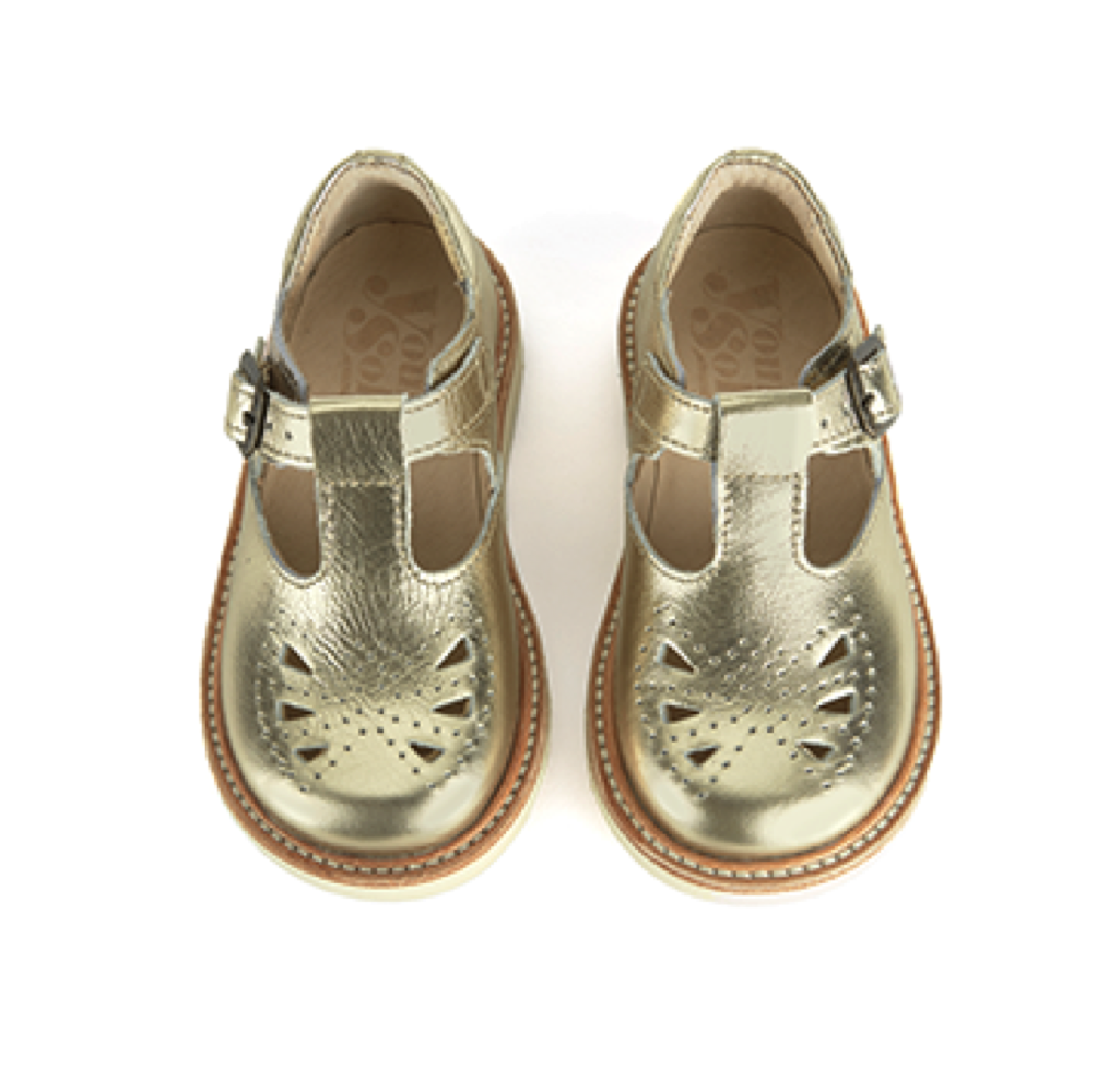 03f262cec YOUNG SOLES T-BAR ROSIE Gold (sizes 20 to 31) - Windmill